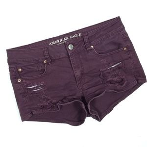 American Eagle Wine Maroon Ripped Shortie Shorts